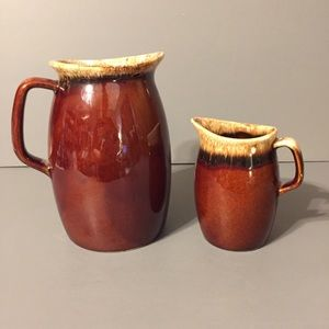 Other - Set of 2 Vintage Brown Drip Hull Pitcher / Creamer
